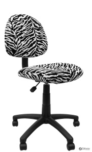 Armless Task Chair in Zebra Print